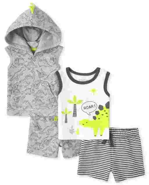 Baby Boys Sleeveless Dino Print Hooded Tank Top Sleeveless Dino Tank Top And Knit Shorts 4-Piece Playwear Set