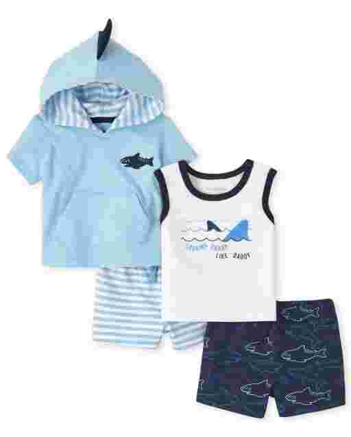 Baby Boys Short Sleeve Shark Hooded Sleeveless Top Tank Top And Knit Shorts 4-Piece Playwear Set