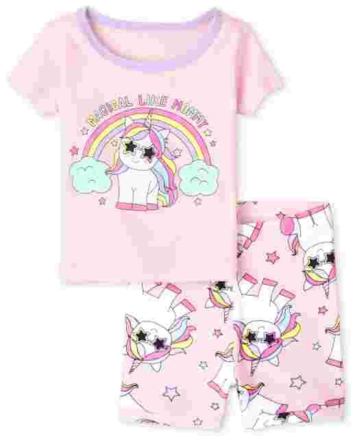 Baby And Toddler Girls Short Sleeve 'Magical Like Mommy' Unicorn Snug Fit Cotton Pajamas