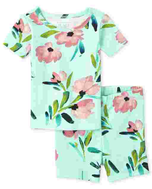 Baby And Toddler Girls Short Sleeve Floral Print Snug Fit Cotton Pajamas