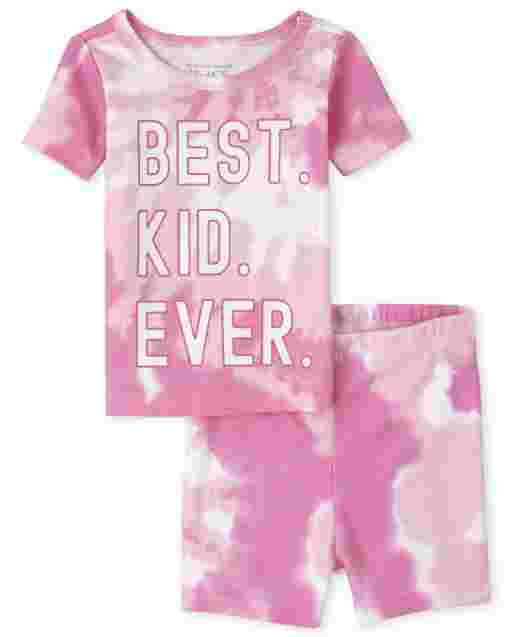 Baby And Toddler Girls Matching Family Short Sleeve 'Best Kid Ever' Tie Dye Snug Fit Cotton Pajamas