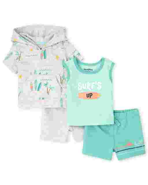 Baby Boys Short Sleeve Surf Print Hoodie Top Sleeveless 'Surf's Up' Tank Top And Knit Shorts 4-Piece Playwear Set