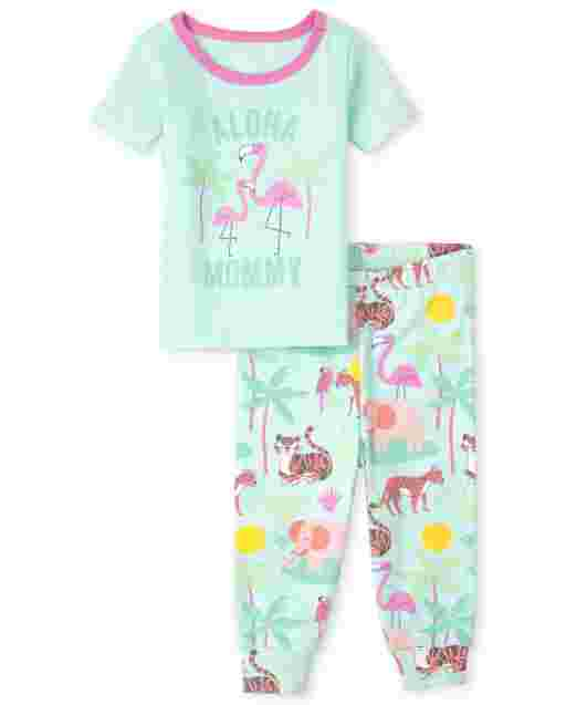 Bebé y niñas pequeñas de manga corta ' Aloha Morning ' Pijama de algodón de ajuste ceñido