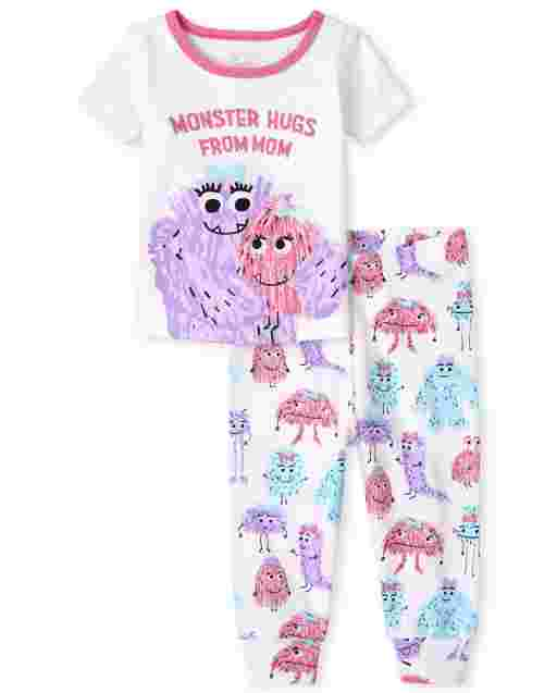 Baby And Toddler Girls Short Sleeve 'Monster Hugs From Mom' Snug Fit Cotton Pajamas