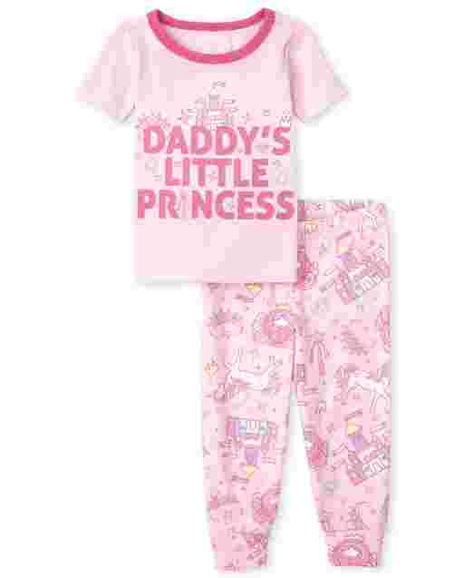 Baby And Toddler Girls Short Sleeve 'Daddy's Little Princess Snug Fit Cotton Pajamas
