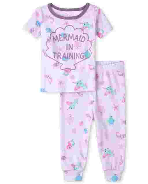Baby And Toddler Girls Short Sleeve 'Mermaid In Training' Snug Fit Cotton Pajamas