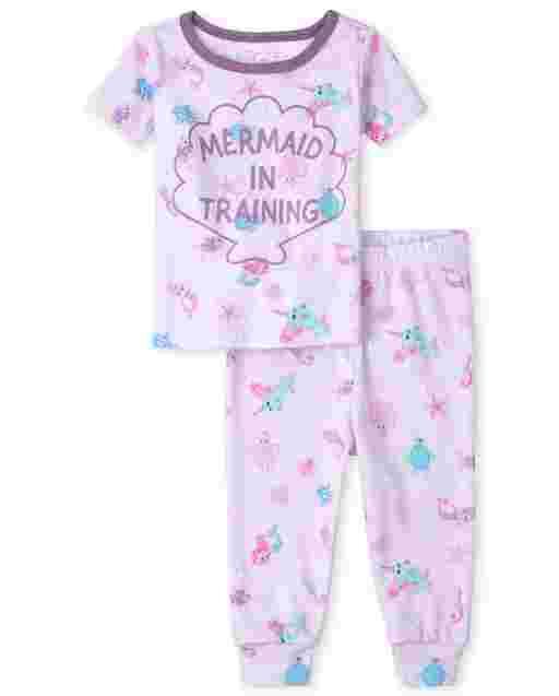 Bebé y niñas pequeñas de manga corta ' Sirena en entrenamiento ' Pijama de algodón de ajuste ceñido