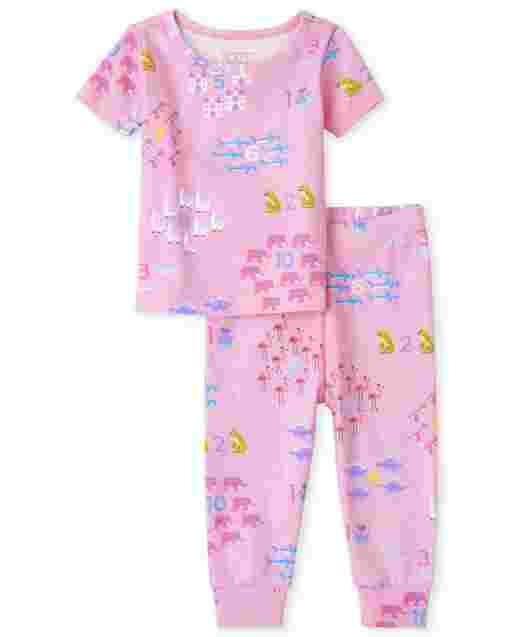 Pijamas de algodón ajustados con estampado de cuentas de manga corta para bebés y niñas pequeñas