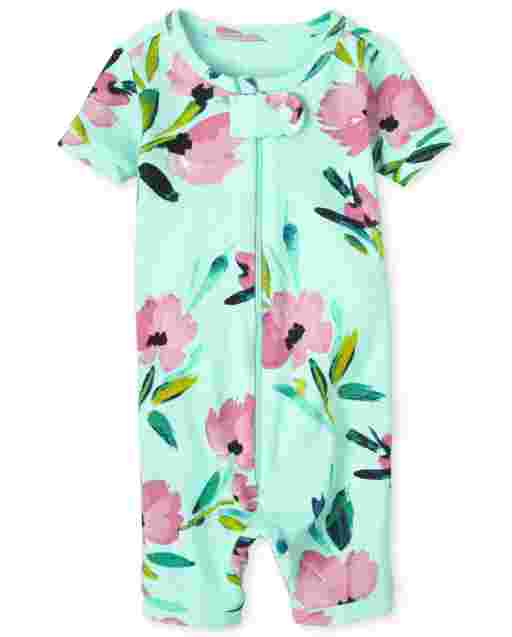 Baby And Toddler Girls Short Sleeve Floral Print Snug Fit Cotton Cropped One Piece Pajamas
