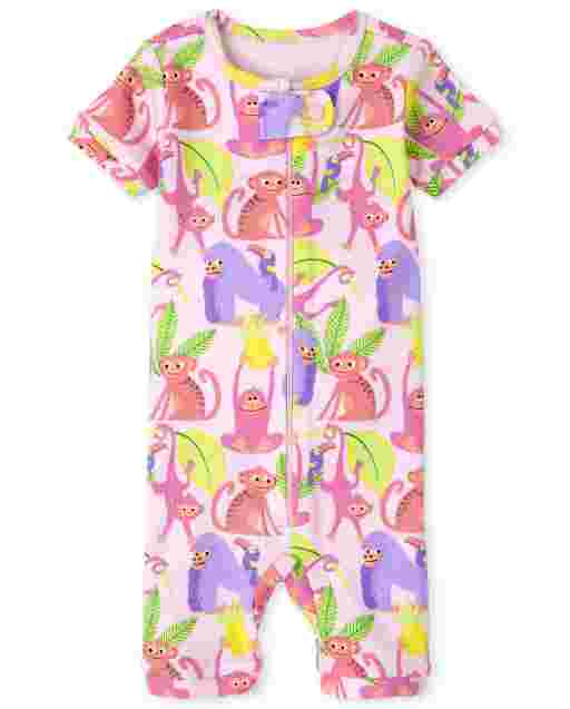 Baby And Toddler Girls Short Sleeve Monkey Print Snug Fit Cotton Cropped One Piece Pajamas