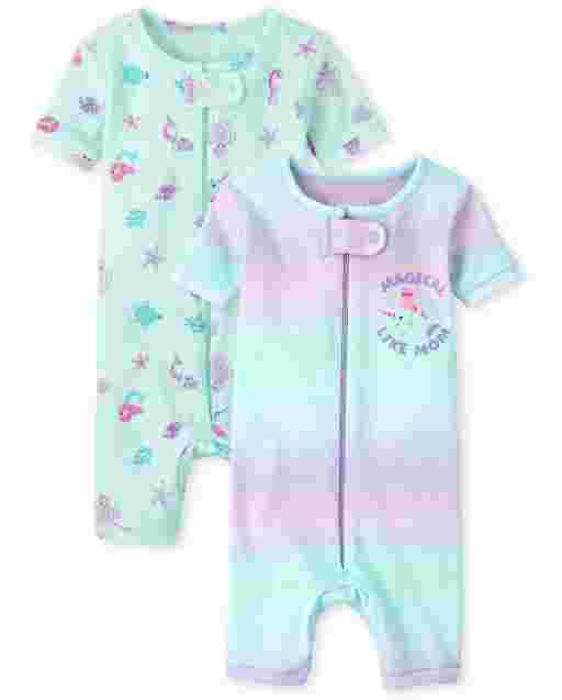Baby And Toddler Girls Short Sleeve Mermaid Snug Fit Cotton Cropped One Piece Pajamas 2-Pack