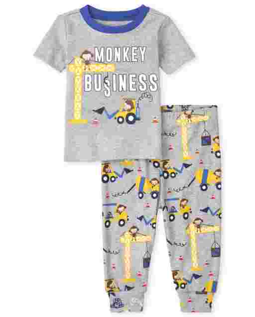 Baby And Toddler Boys Short Sleeve 'Monkey Business' Snug Fit Cotton Pajamas