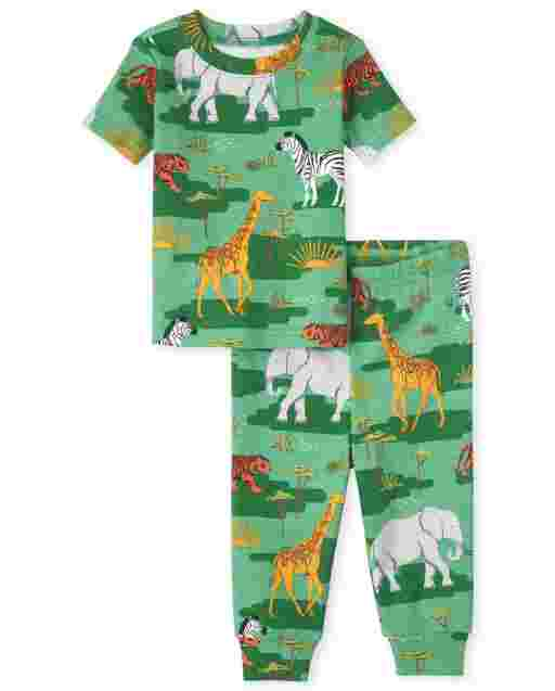 Unisex Baby And Toddler Short Sleeve Camo Animal Print Snug Fit Cotton Pajamas