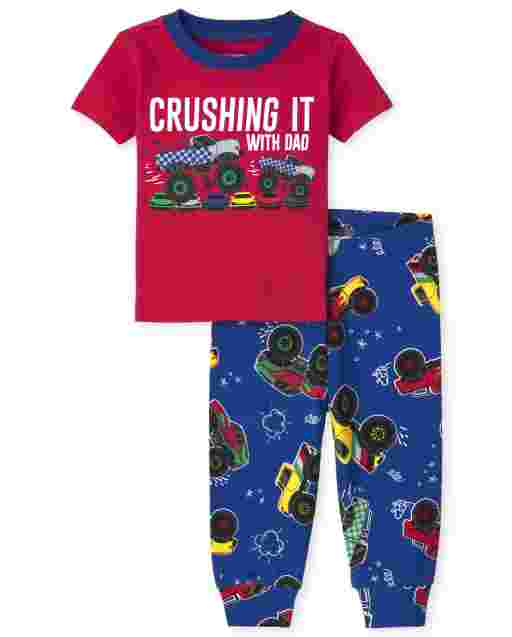Bebé y niños pequeños de manga corta ' Crush It With Dad ' Pijama de algodón con ajuste ceñido de Monster Truck