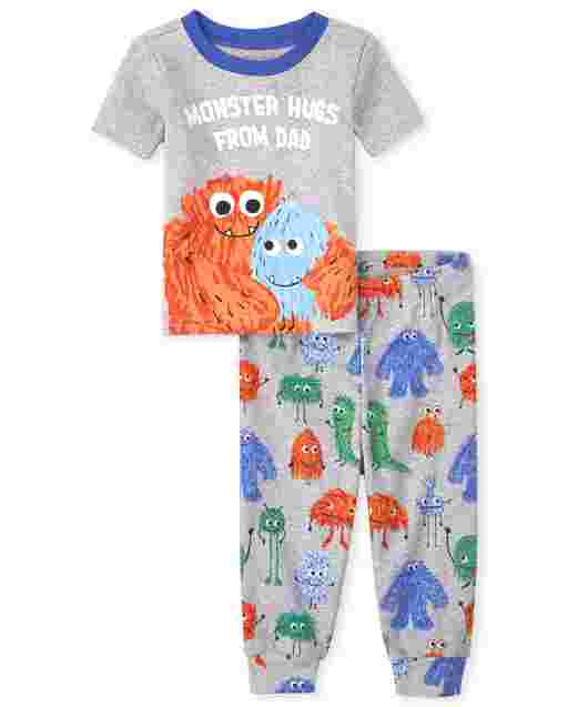 Baby And Toddler Boys Short Sleeve 'Monster Hugs From Dad' Snug Fit Cotton Pajamas