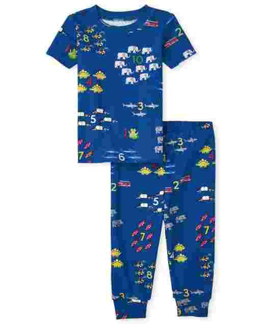 Pijama de algodón de corte ceñido con estampado de contado de manga corta para bebés y niños pequeños
