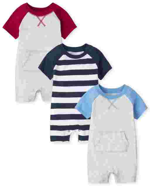 Baby Boys Short Sleeve Colorblock Knit Romper 3-Pack