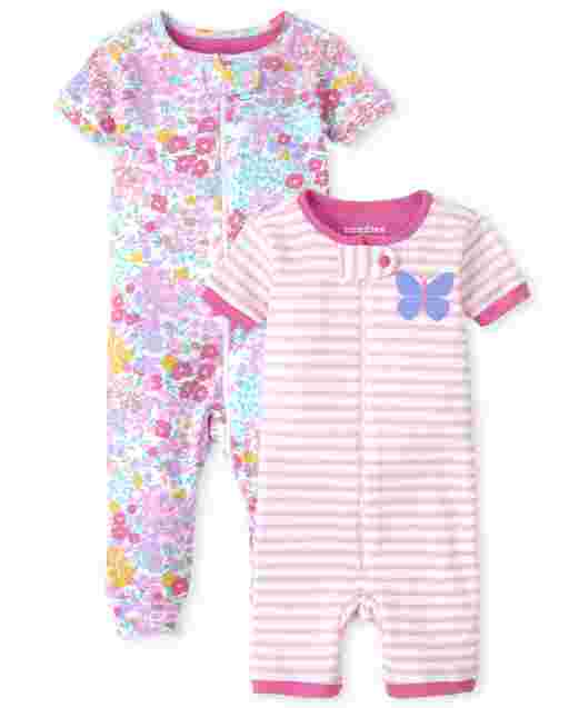 Baby And Toddler Girl Short Sleeve Floral Butterfly Snug Fit Cotton One Piece Pajamas 2-Pack