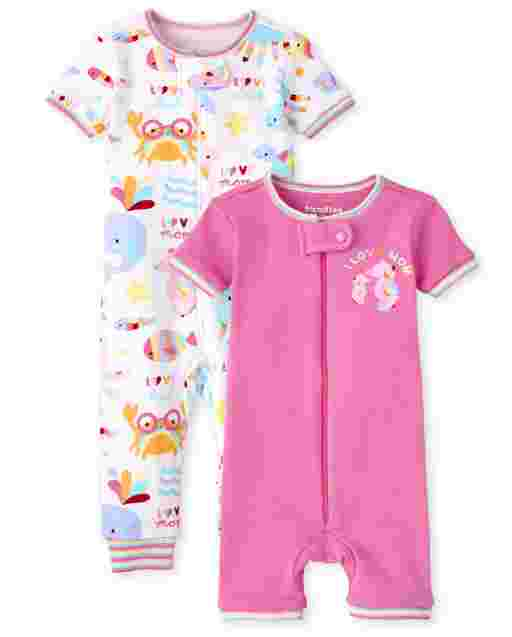 Baby And Toddler Girls Long And Short Sleeve Sea Life Snug Fit One Piece Pajamas 2-Pack