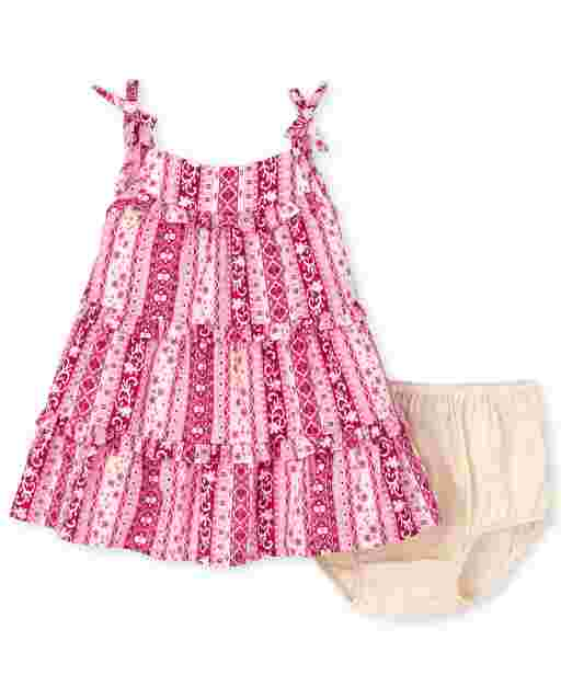 Baby Girls Sleeveless Floral Striped Woven Tiered Dress And Bloomers Set