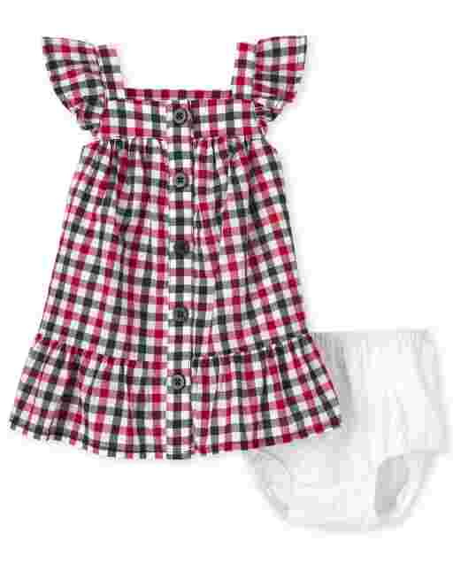 Baby Girls Americana Short Sleeve Gingham Woven Ruffle Dress And Bloomers Set