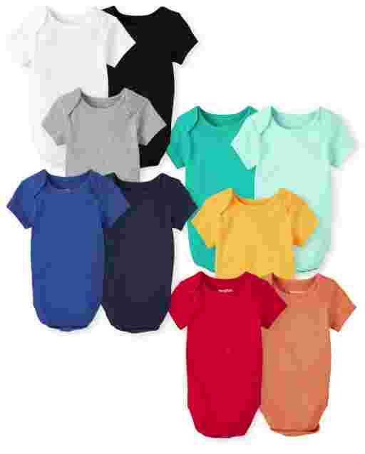 Unisex Baby Short Sleeve Solid Bodysuit 10-Pack
