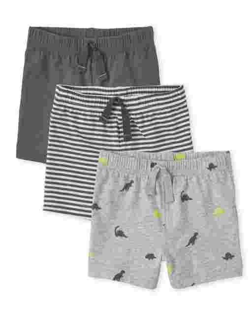 Baby Boys Dino Print Solid And Striped Knit Shorts 3-Pack
