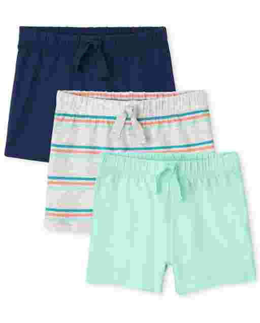 Baby Boys Striped And Solid Knit Shorts 3-Pack