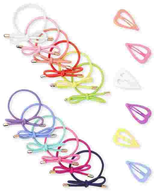 Girls Bow Hair Tie And Heart Hair Clip 18-Piece Hair Set