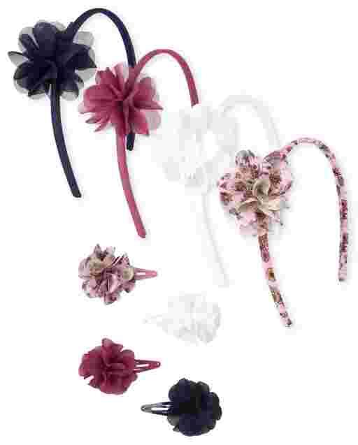 Girls Flower Headband And Hair Clip 8-Piece Hair Set