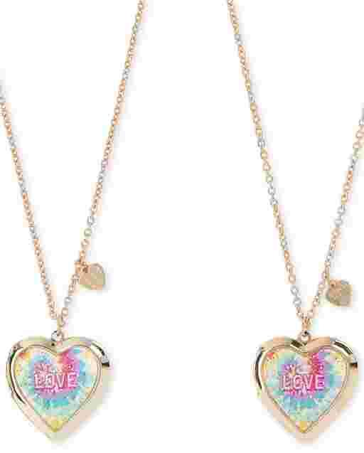 Pack de 2 collares con medallón de corazón con efecto tie dye