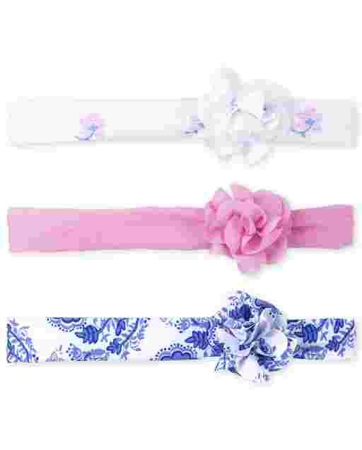 Paquete de 3 pañuelos con rosas para bebé niña