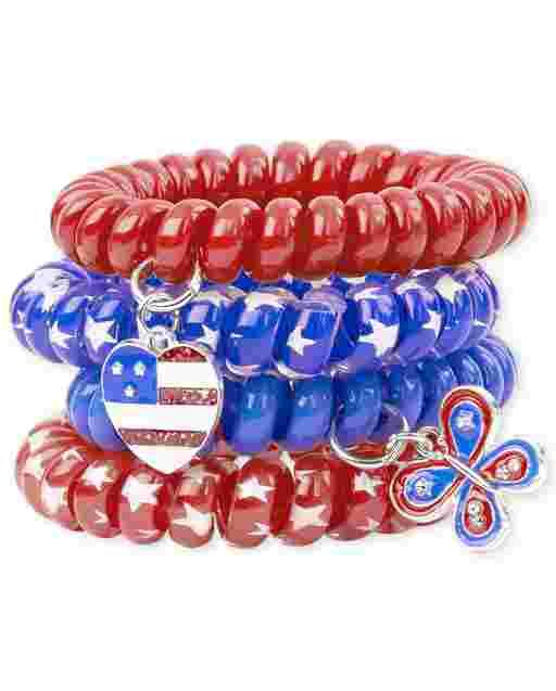 Paquete de 4 brazaletes Americana Coil para niñas