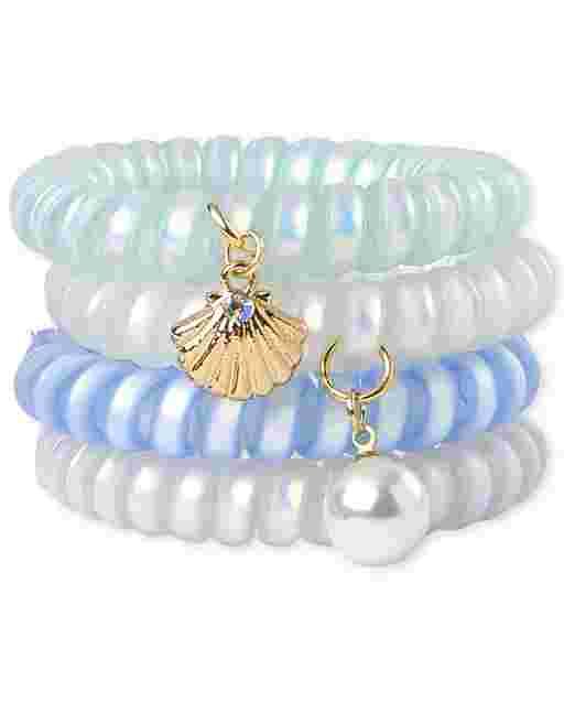 Paquete de 4 pulseras en espiral de concha marina para niñas