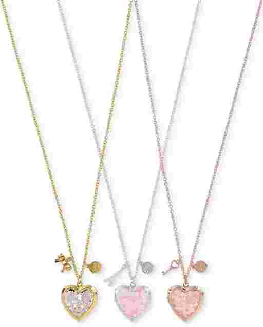 Paquete de 3 collar con medallón de corazón brillante para niñas