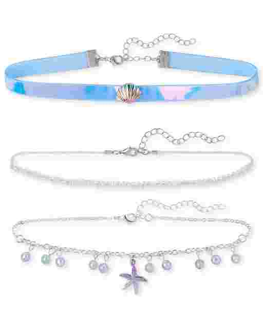 Girls Seashell Choker Necklace 3-Pack