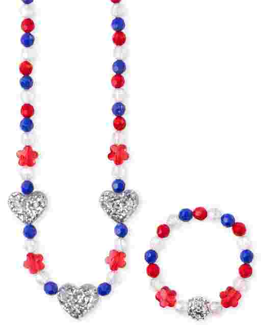 Conjunto de Collar y Pulsera de Cuentas Americana para Niñas