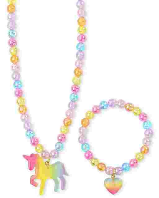 Girls Rainbow Unicorn Necklace And Bracelet Set