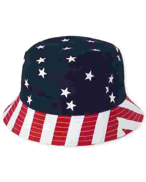 Sombrero de pescador reversible americana para niños pequeños