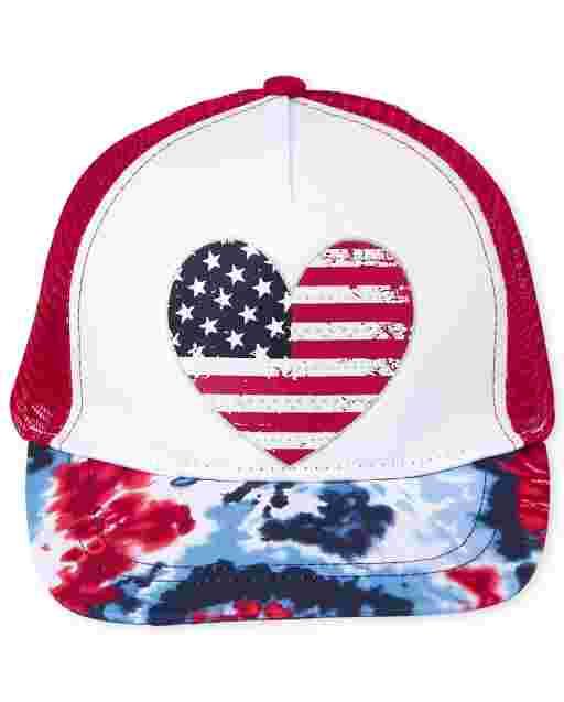 Gorra de béisbol americana con efecto tie dye para niñas