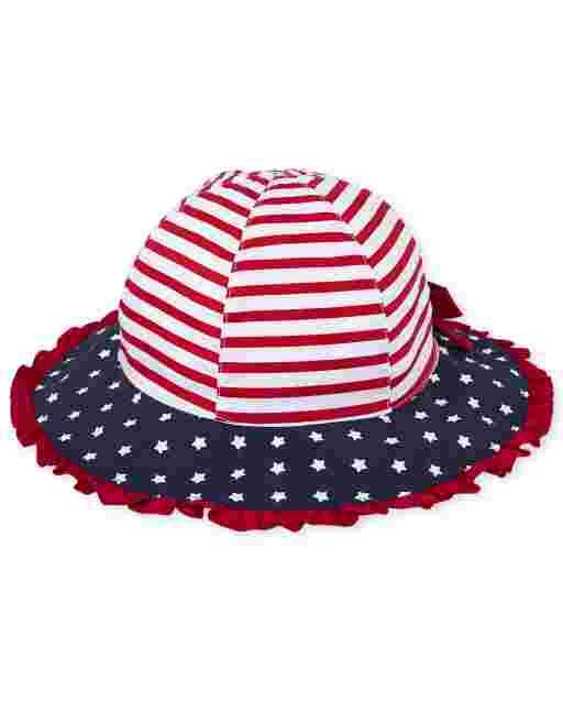 Sombrero de pescador americana con volantes para niñas pequeñas