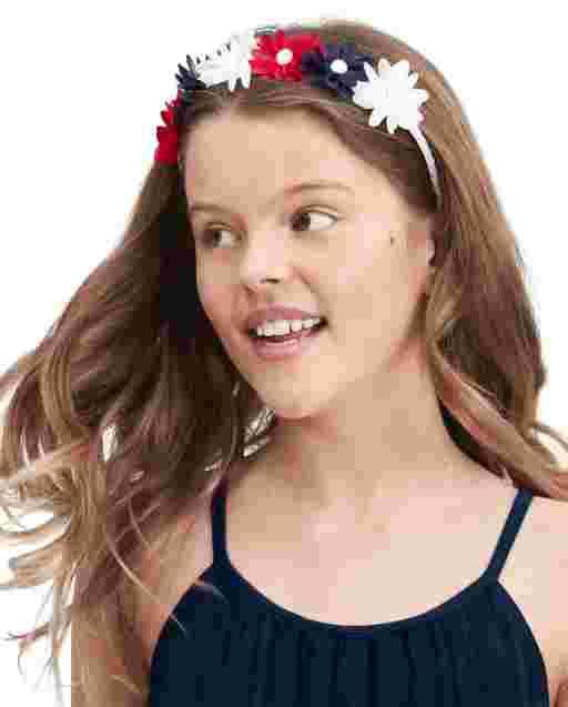 Diadema de flores americana para niñas