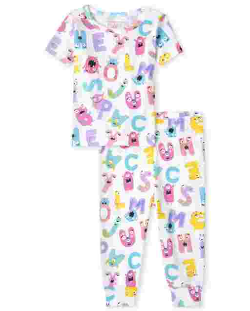 Baby And Toddler Girls Short Sleeve ABC Snug Fit Cotton Pajamas