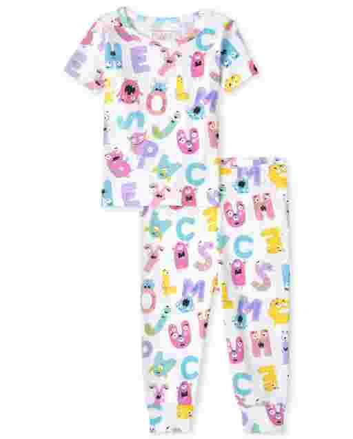 Pijama de algodón con ajuste ceñido ABC de manga corta para bebés y niñas pequeñas