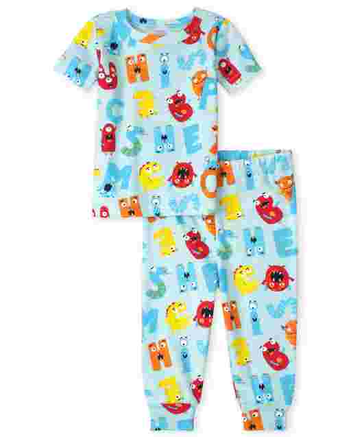 Unisex Baby And Toddler Short Sleeve ABC Print Snug Fit Cotton Pajamas