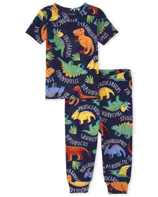 Pijama de algodón con ajuste ceñido Dino de manga corta para bebés y niños pequeños