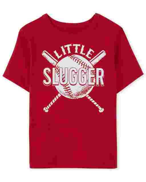 Baby and Toddler Boys Short Sleeve Little Slugger Baseball Graphic Tee