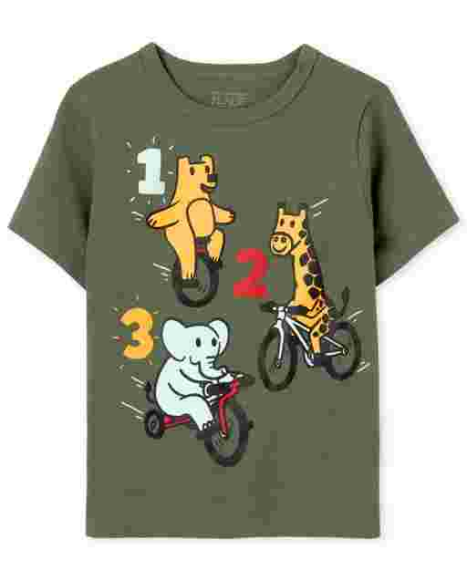 Baby And Toddler Boys Short Sleeve 123 Animals Graphic Tee