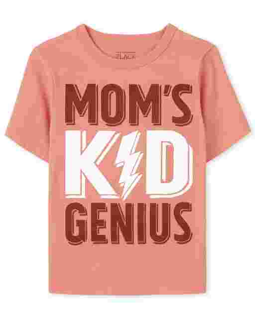 Baby And Toddler Boys Short Sleeve Mom's Kid Genius Graphic Tee