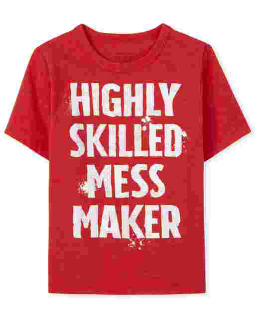 Baby And Toddler Boys Short sleeve Highly Skilled Mess Maker Graphic Tee